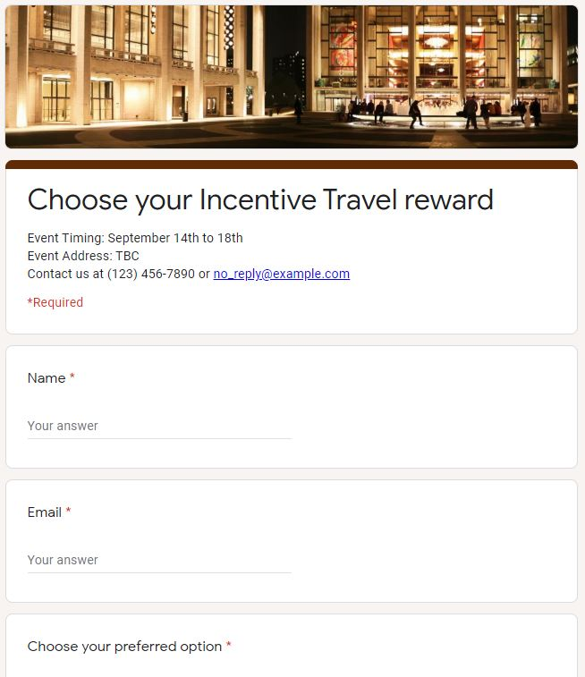 Incentive Travel example of a survey tool to use for employees