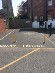 Designated parking spaces at Quay house in Dorset