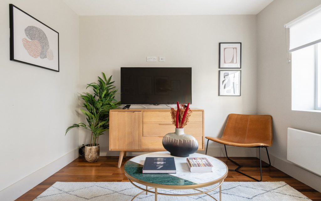 The Kennington Escape, Flat screen TV, House plant, coffee table, cosy rug and leather chair