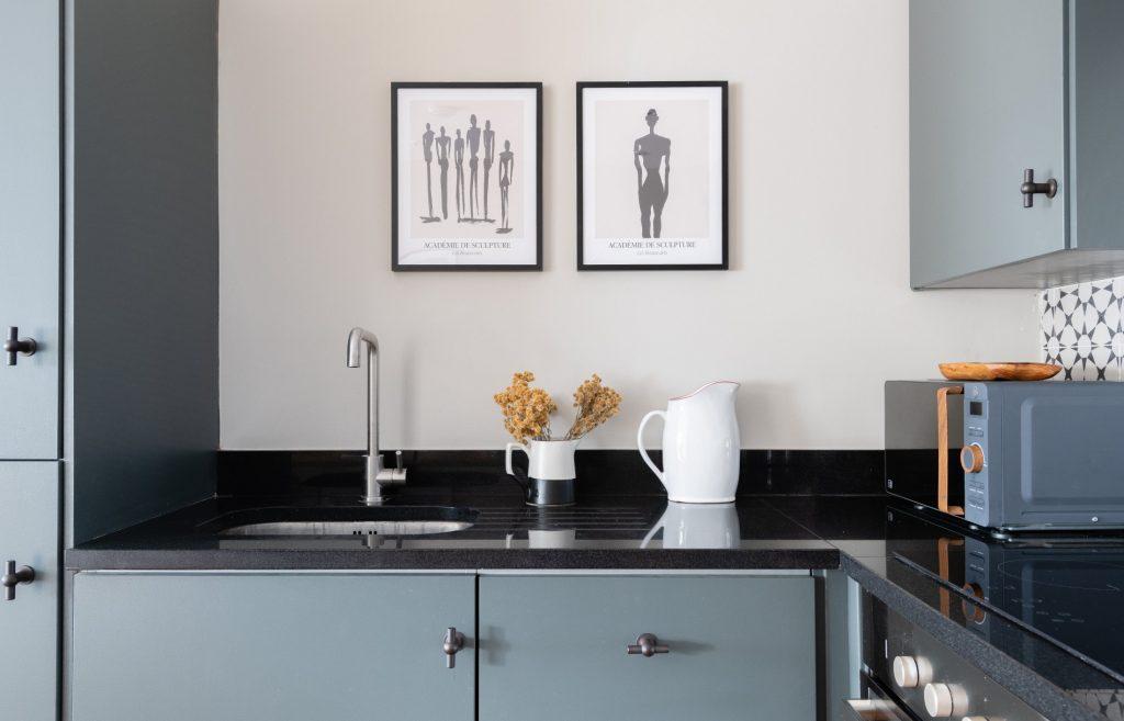 The Kennington Escape, Kitchen sink, Duck egg blue kitchen units, Blue microwave
