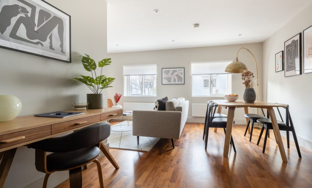 The Kennington Escape, Desk, leather office chair, dining room table, living room and sofa