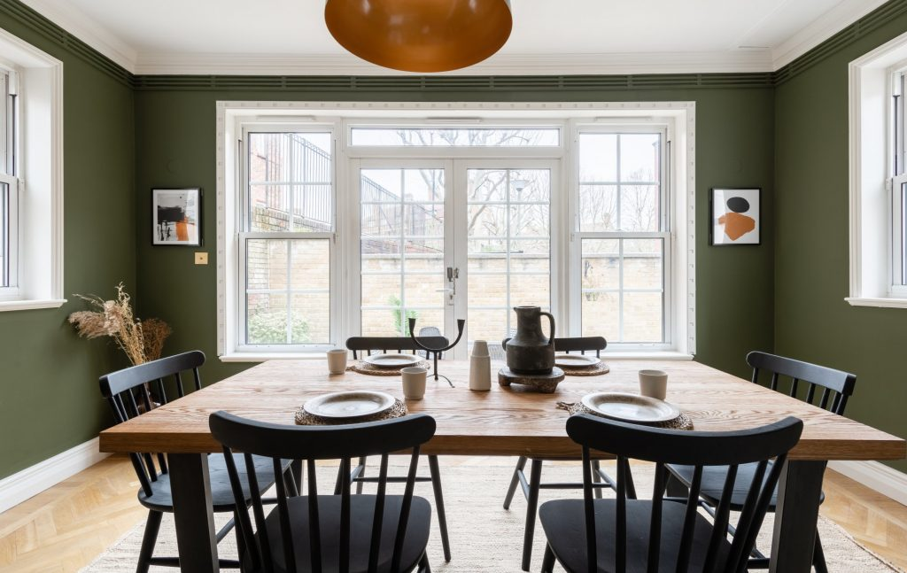The Pimlico Townhouse, Olive green dining room, double doors leading to a courtyard, dining room table
