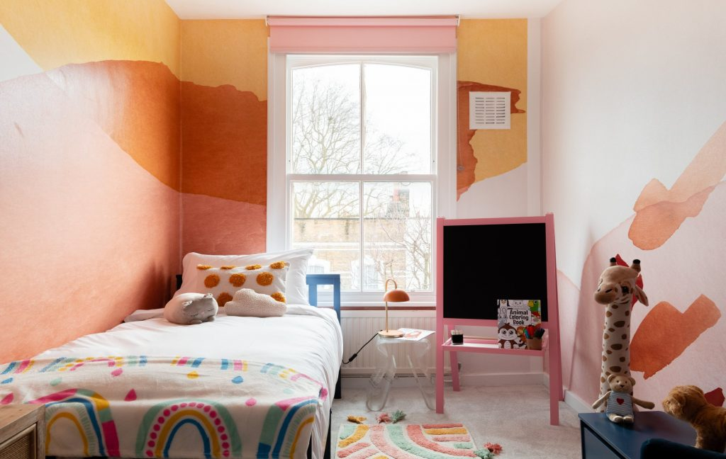 Kids Bedroom, bright kids bedroom, rainbow bed sheets, chalk board and kids toys