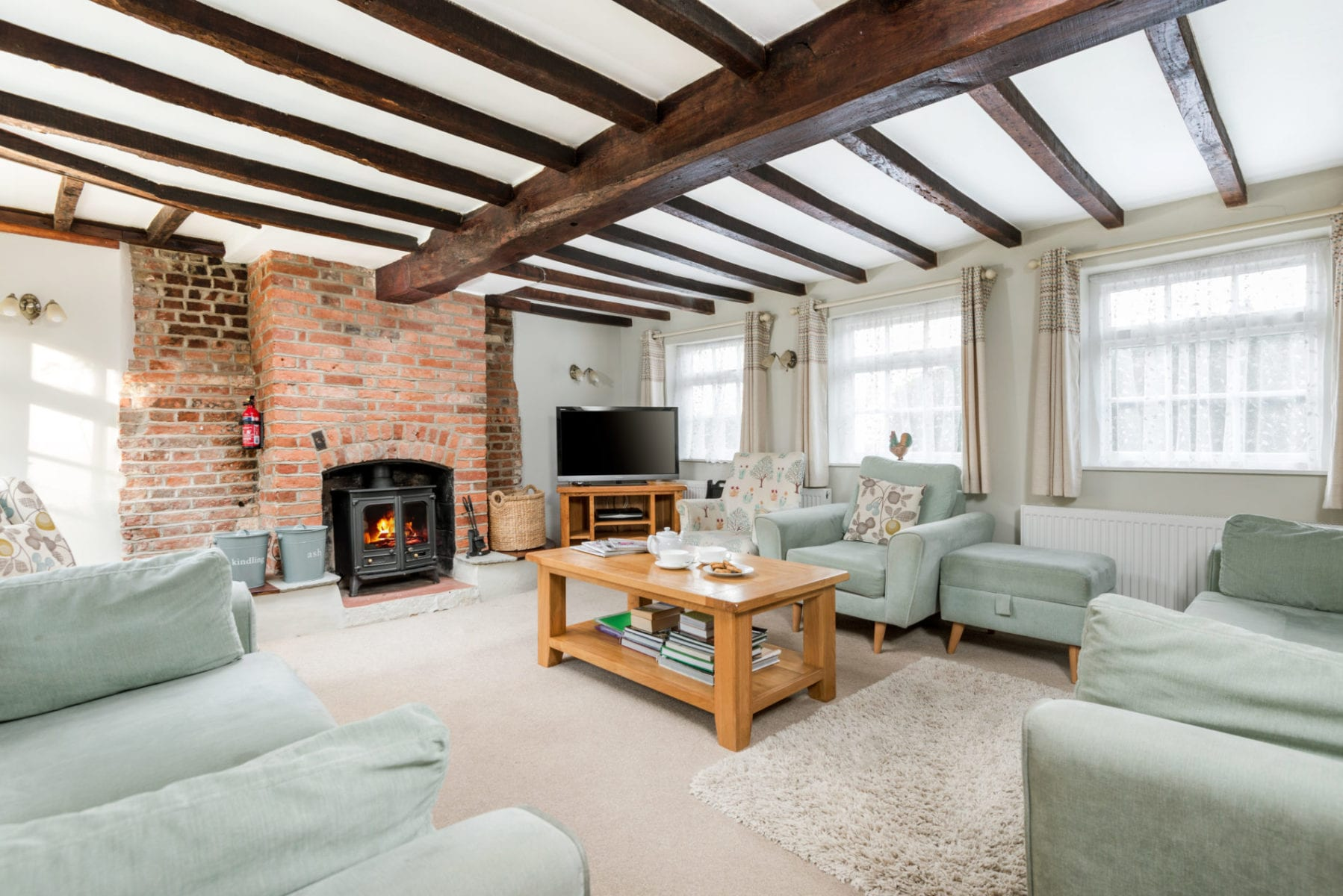 Beck Cottage, Lounge with fireplace