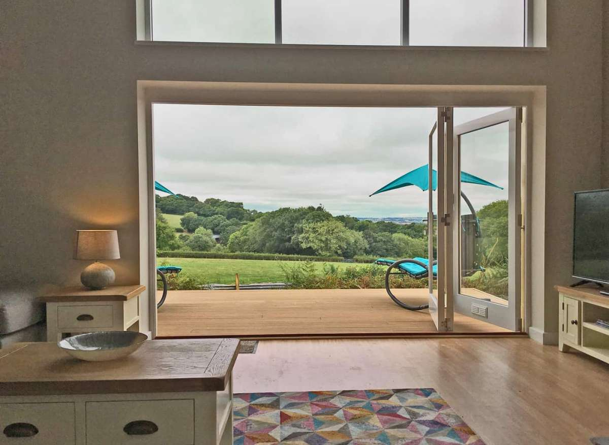 Blackdown Views, Lounge with Bifold Doors, fields view