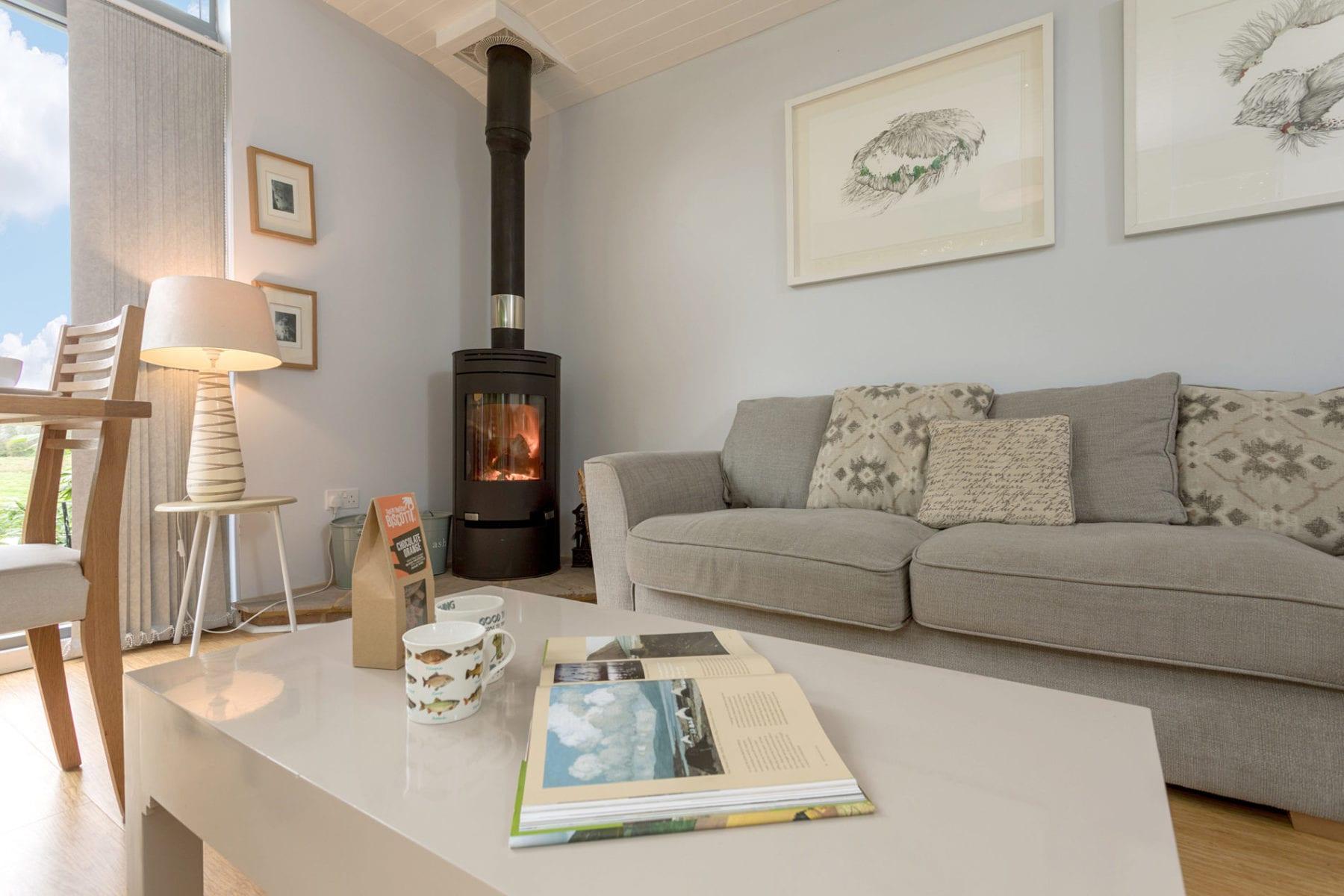 Riverside Lodge, lounge and fireplace