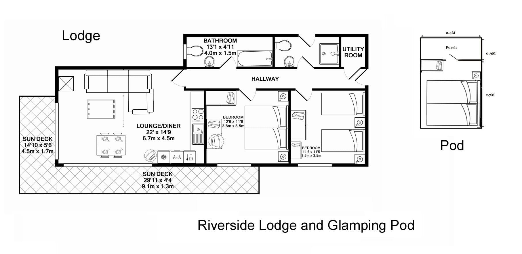 Riverside Lodge, floor plan